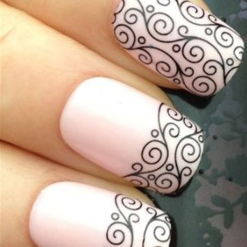 Nicedeco - Beautiful & Fun & Colorful & Fashion nail stickers/tattoo/deacl water transfer decals Stunning Black Swirl Strips ,Greatly Positive Feedback From Buyer.