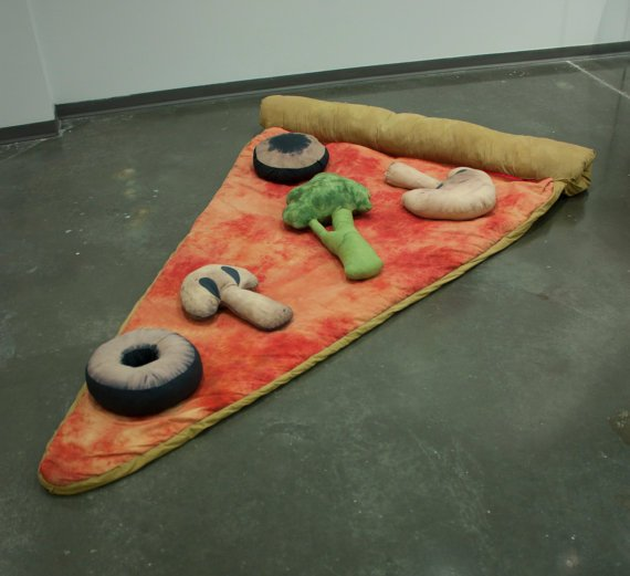 Slice of Pizza Sleeping Bag w/ Veggie Pillows by Bfiberandcraft