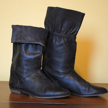 Vintage Boots Unisa Italian Leather Fold down Women Fall Low Heel