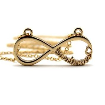 Directioner (TM) Gold Tone Infinity Sign Chain Necklace XHC21G