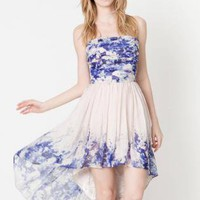 Multi Floral Dress - Floral Strapless Chiffon Dress with | UsTrendy