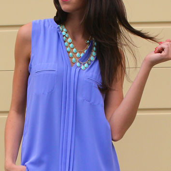 Pleated Front Sleeveless Blouse with Pockets - Lavender