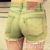 Vintage Levi&#x27;s Denim High Waist Cut off by UnraveledClothing