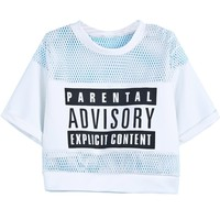 Sheinside Women's Contrast Hollow Mesh Yoke Letters Print Top