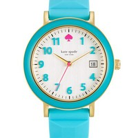 kate spade new york 'metro' enamel bezel silicone strap watch, 36mm
