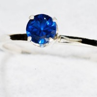 Blue Spinel 5 MM Sterling Silver Stacking Ring by janeysjewels