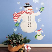 Wallies Snowman Vinyl Holiday Mural Peel and Stick - 13501 - All Wall Art - Wall Art & Coverings - Decor