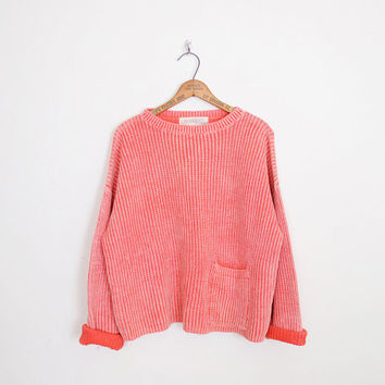 Oversize Sweater Slouchy Sweater Crop Sweater Hipster Sweater 80s Sweater Coral Sweater Acid Wash Sweater Women M Medium L XL Extra Large