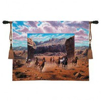 Fine Art Tapestries Running Horse Tapestry - Bo Newell - 3360-WH - All Wall Art - Wall Art & Coverings - Decor