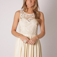 Esther Boutique - tea party lace bodice cocktail dress- cream