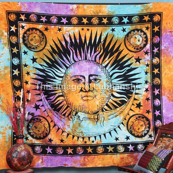 Psychedelic Celestial Sun Moon Tie Dye Tapestry ,Stars Tapestry, Indian Tapestry, Wall Hanging Tapestry, Queen Dorm Bedding, Sun-Moon