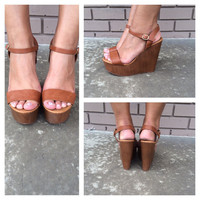 Tan Emily Wedges