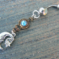 galaxy moon belly ring AURORA  blue harlequin in beach summer moroccan belly dancer indie gypsy hippie morrocan boho and hipster style
