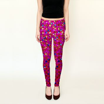 Polka Dot Sparkley Jewels 1 by Medusa81 (Leggings)