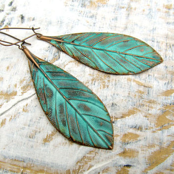 Patina bohemian Leaf earrings Copper jewelry by Gypsymoondesigns