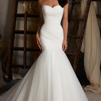 YannyExpress | Asymmetrically Draped Net Fishtail Wedding Dress Simple Style