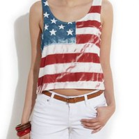 White American Flag Cropped Vest