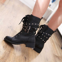 Wholesale Black rivets belt decoration Martin boots Z-QQ880 black - Lovely Fashion