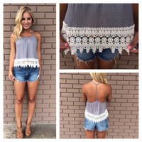 Crochet Ribbed T-Back Tank - GREY