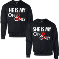 HE'S MY ONE ONLY SHE'S MY ONE ONLY COUPLE SWEATSHIRT - TeeeShop