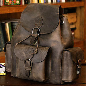 Novica Weathered in Brown Leather Backpack | Clothing and Accessories | Accessories | World Market