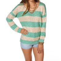 Promo-MintIvory Striped Crochet Sweater