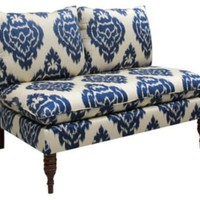 One Kings Lane - The Art of Upholstery - Bacall Armless Settee, Sapphire