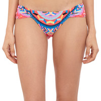 Abstract-Print Ruched Bikini Bottom