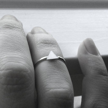Triangle Ring, Over the Knuckle Ring, Midi Ring, Sterling Silver Stacking Ring, Triangle Midi Ring, Knuckle Ring