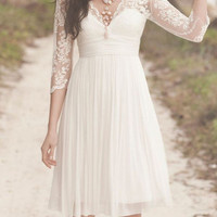 Short Lace Wedding Dress, Ivory Wedding Dress, Simple Long Sleeve White Reception Wedding Dress, Short Beach Wedding Dress, Lace Party Dress