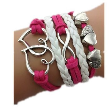 HealthTop Handmade Infinity Link Heart Love Pink Suede Braided Leather Rope Wrap Bracelets Fashion Wristwear