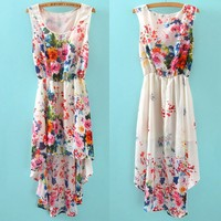 Vintage Women Summer Sleeveless Bandeau Floral Dress Elegant Chiffon Dresses