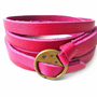 Women Peach Leather Bracelet and Bronze Alloy by braceletcool