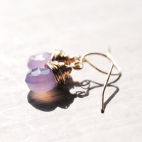 Light Purple Earrings 14kt Gold Fill Gemstones by starletta