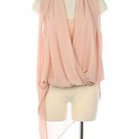 DRAPED FRONT ASYMMETRICAL CHIFFON TOP