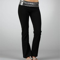 Silver-Black Sequin Yoga Pants
