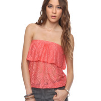Flounced Lace Tube Top | FOREVER21 - 2000039792