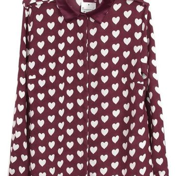 Sheinside Red Long Sleeve Hearts Print Chiffon Blouse
