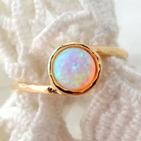 SALE - White Opal ring, Gemstone ring,  stacking ring, Gold ring, white stone ring, Classic ring, dainty ring, Textured ring