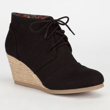 City Classified Rex Womens Desert Wedges Black Linen  In Sizes