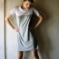 Grey and White Tshirt dress by larimeloom on Etsy
