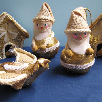 Vintage Christmas Ornaments Paper Mache Burlap Glitter Hanging Set of 5 Mr Christmas 69 Santa Japan Labels
