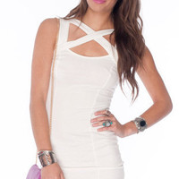 Up-Close Bodycon Dress in White :: tobi
