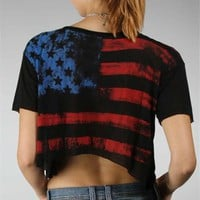 Black American Flag Print Top