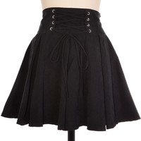 Black Laced High Waist Flare Skirt