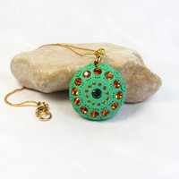 Goldfilled Green Necklace Polymer Clay round by SigalsDesigns