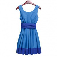 Large pendulum slim fit sleeveless vest dress