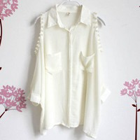 Leak shoulder pearl adornment bat sleeve chiffon shirt