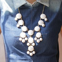 White Bubble Statement Necklace
