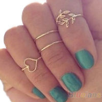 4PCS/Set Rings Urban Gold Plated Crystal Plain Above Knuckle Ring Band Midi Ring